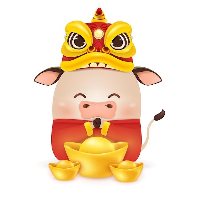 Feliz ano novo chinês de 2021. desenho de personagem boi pequeno com cabeça de dança de dragão Vetor Premium