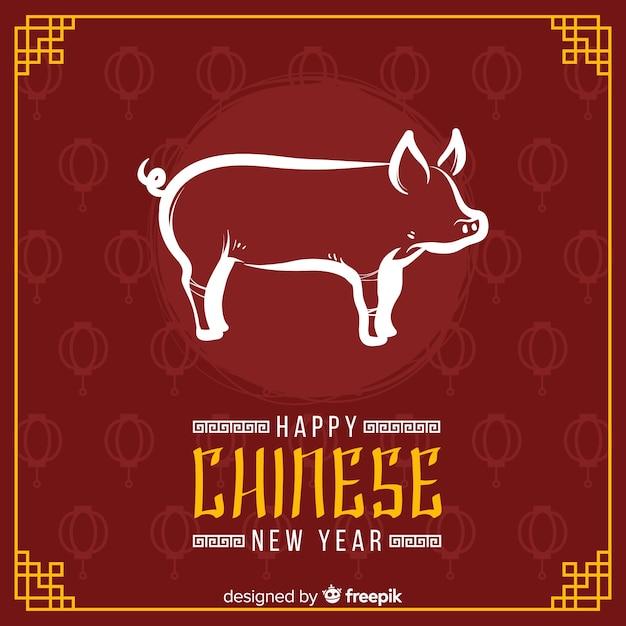 Feliz ano novo chinês Vetor grátis