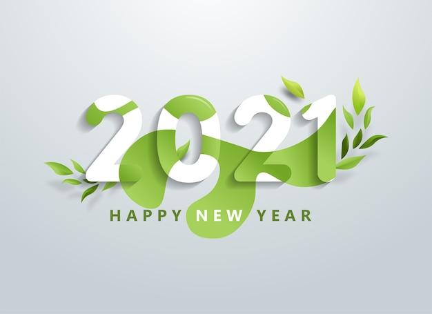 Feliz ano novo com a bandeira de folhas verdes naturais. Vetor Premium