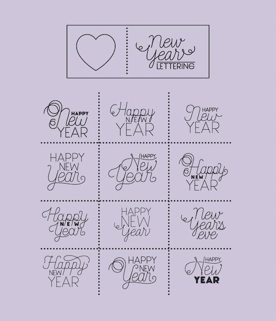 Feliz ano novo conjunto de cartas Vetor Premium