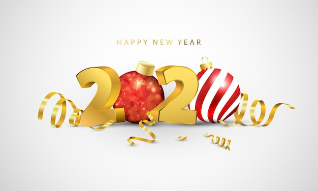 Feliz ano novo de 2020. design de cartão com confetes de ouro. Vetor Premium