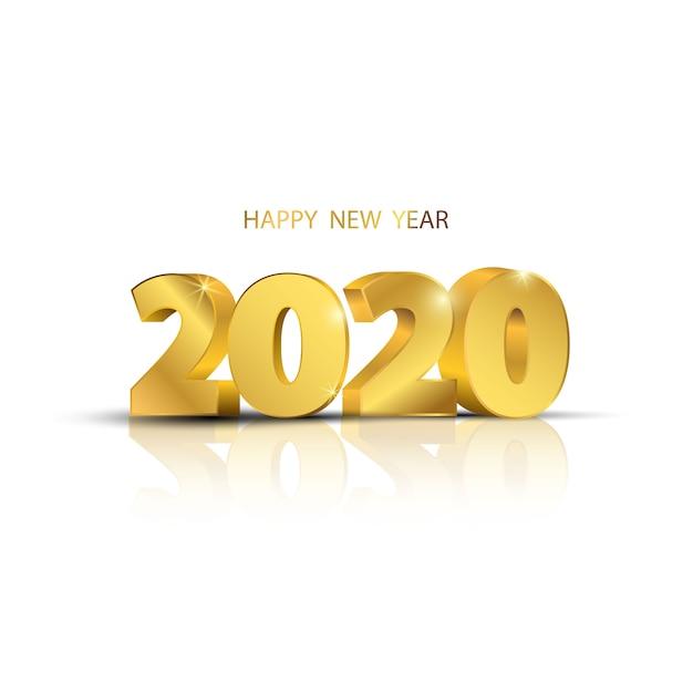 Feliz ano novo de 2020. design de cartão Vetor Premium
