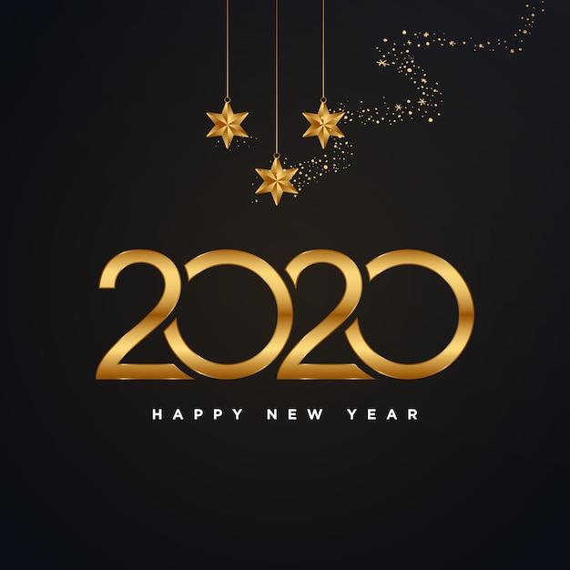 Feliz ano novo de 2020 dourado com ilustração de fogos de artifício ouro isolada no preto Vetor Premium