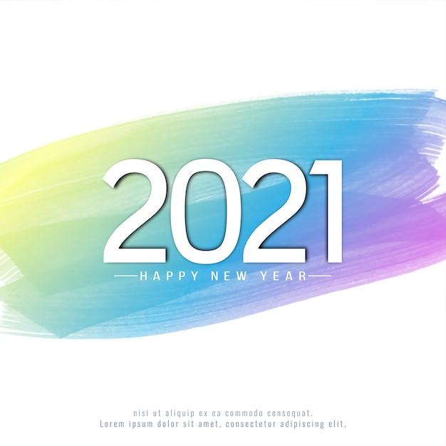 Feliz ano novo de 2021 em fundo aquarela colorido Vetor Premium
