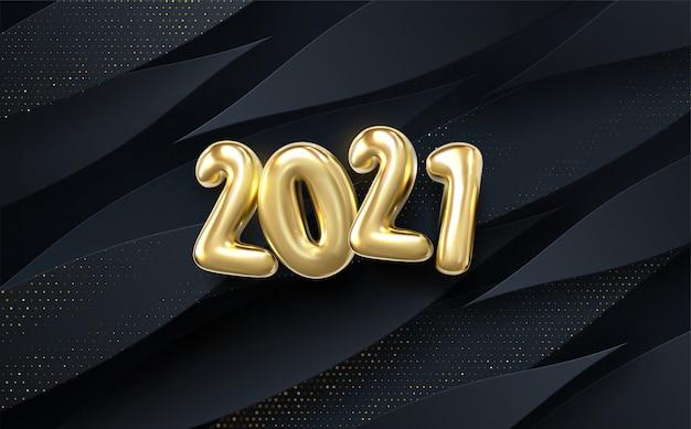 Feliz ano novo de 2021. feriado. papel preto cortado fundo. decoração abstrata realista papercut texturizada com camadas onduladas e padrão de efeito de meio-tom dourado. Vetor Premium