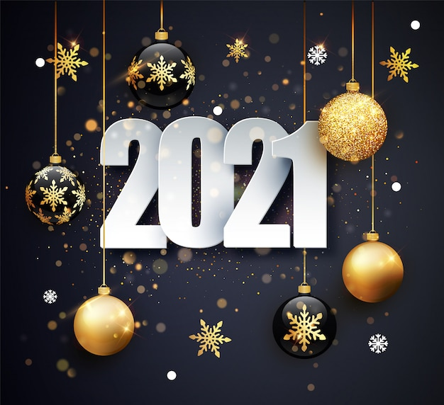 Feliz ano novo de 2021. ilustração de férias dos números 2021. ouro números design de cartão de felicitações. Vetor Premium