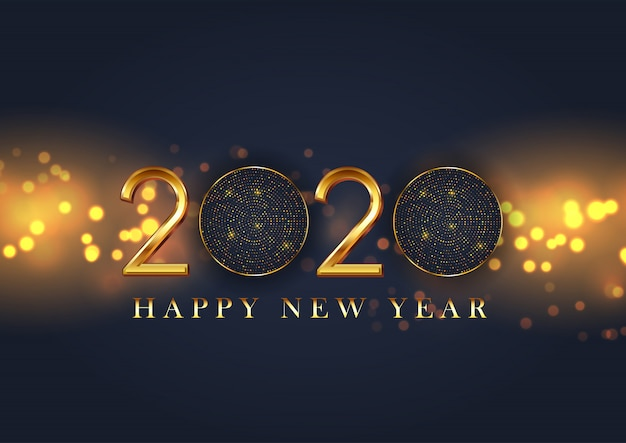 Feliz ano novo decorativo Vetor grátis