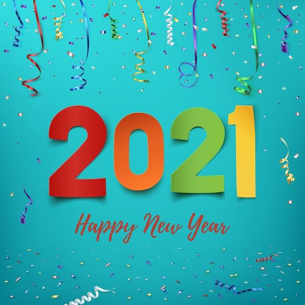 Feliz ano novo . desenho abstrato de papel colorido com fitas e confetes. modelo de cartão de saudação. Vetor Premium