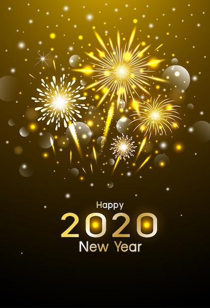 Feliz ano novo design de fogos de artifício ouro à noite Vetor Premium