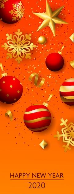 Feliz ano novo dois mil e vinte letras com bolas Vetor grátis