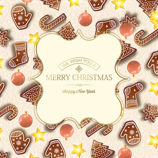 Feliz ano novo e cartão de natal com inscrição dourada em moldura elegante e elementos de natal na luz Vetor grátis