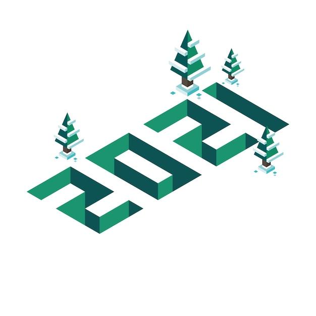 Feliz ano novo e feliz natal 2021 banner em isometria como uma ilustração tridimensional e volumétrica com pinheiros e neve. verde Vetor Premium