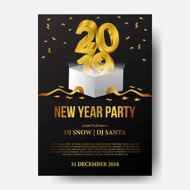 Feliz ano novo festa com ouro 3d com caixa aberta Vetor Premium