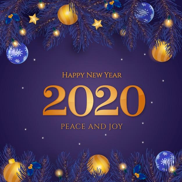 Feliz ano novo fundo azul Vetor grátis