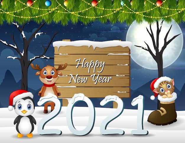 Feliz ano novo fundo com animais Vetor Premium