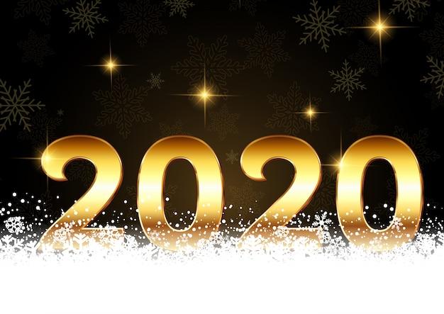 Feliz ano novo fundo com números dourados aninhado na neve Vetor grátis