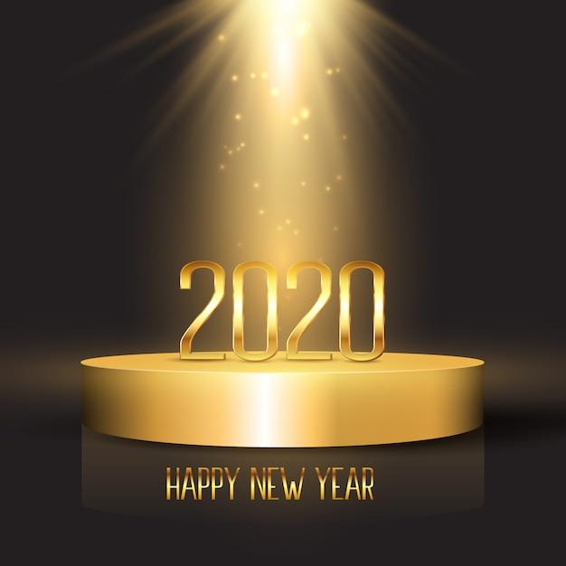 Feliz ano novo fundo com números no visor do pódio Vetor grátis