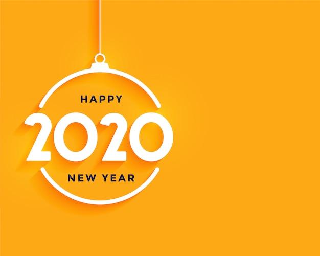 Feliz ano novo fundo mínimo amarelo brilhante Vetor grátis