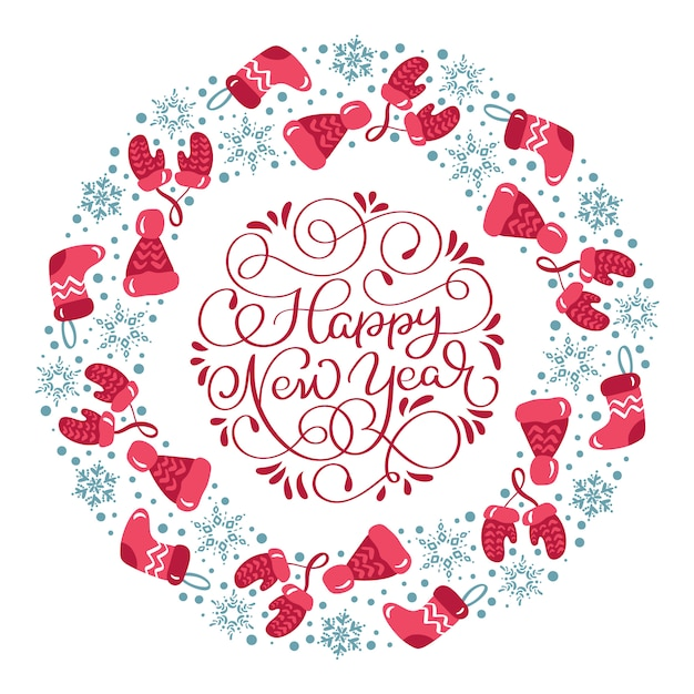 Feliz ano novo grinalda com roupas de inverno Vetor Premium