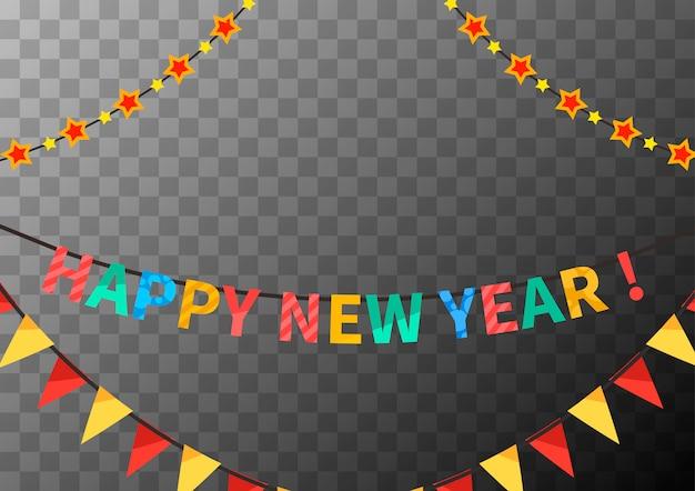 Feliz ano novo guirlandas com bandeiras e estrelas, modelo de parabéns na transparente Vetor Premium