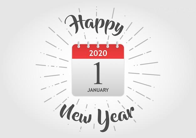 Feliz ano novo ícone de calendário Vetor Premium