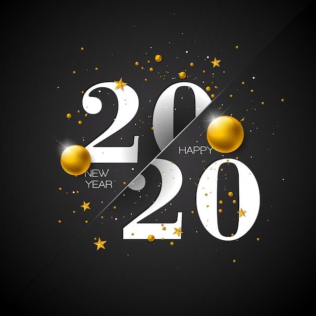 Feliz ano novo ilustração com número de tipografia Vetor Premium