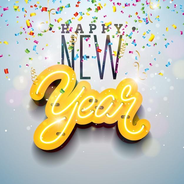 Feliz ano novo, ilustração Vetor Premium