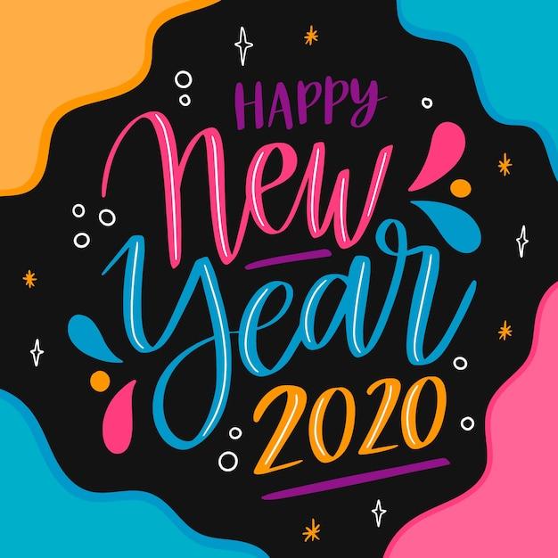 Feliz ano novo letras Vetor grátis