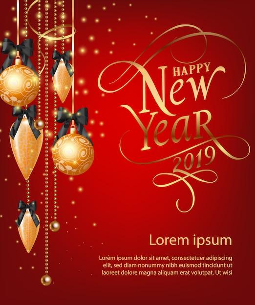 Feliz ano novo lettering com enfeites de ouro Vetor grátis