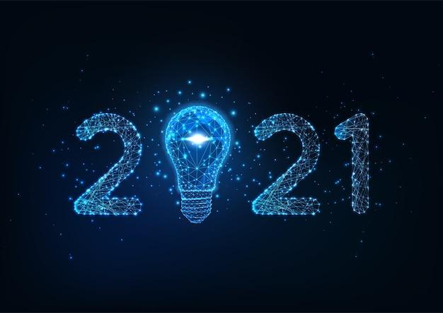 Feliz ano novo modelo de banner digital da web com número poligonal baixo brilhante futurista e lâmpada sobre fundo azul escuro. Vetor Premium
