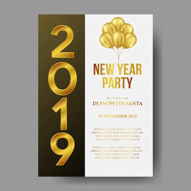 Feliz ano novo modelo de cartaz de festa Vetor Premium