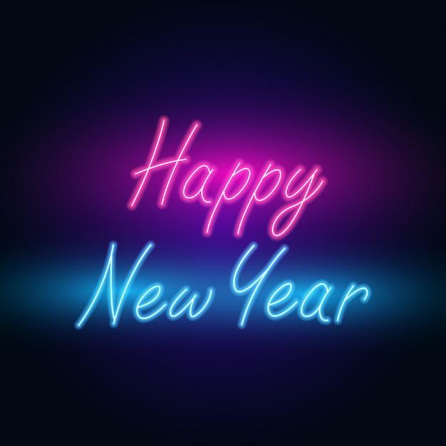 Feliz ano novo. néon de texto com iluminação brilhante. Vetor Premium