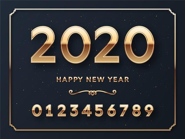 Feliz ano novo números modelo cartão Vetor Premium