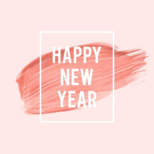 Feliz ano novo pincelada cor de rosa Vetor grátis