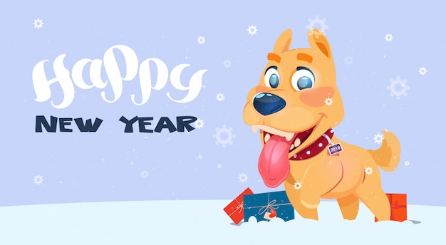 Feliz ano novo poster com dog on snowfall background Vetor Premium