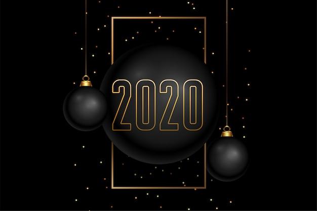 Feliz ano novo preto e dourado Vetor grátis