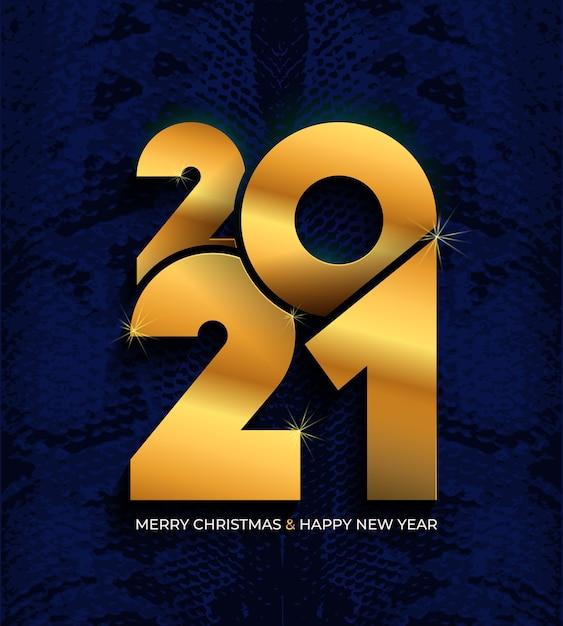 Feliz ano novo. texto elegante de ouro com luz. números dourados na textura de cobra. Vetor Premium
