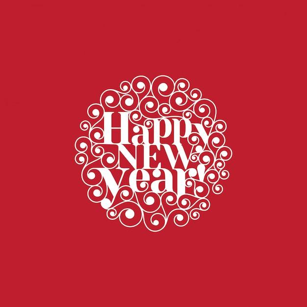 Feliz ano novo texto lettering modelo de cartão de forma de círculo Vetor grátis