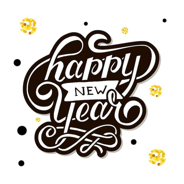Feliz ano novo vetor gradiente phrase lettering caligrafia adesivo ouro Vetor Premium