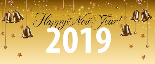 Feliz ano novo, vinte e dezenove letras com sinos de ouro Vetor grátis