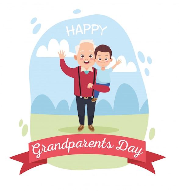 Feliz avô velho com netinho no acampamento Vetor Premium