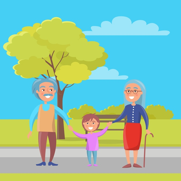 Feliz, avós, dia, par velho, com, neto Vetor Premium