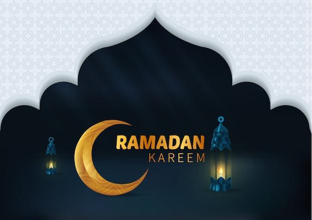 Feliz, bonito, ramadan, kareem, fundo, ilustração Vetor Premium