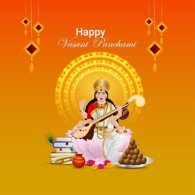Feliz cartão vasant panchami com mulher, livros e comida, Vetor Premium