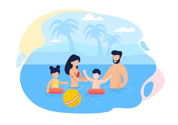 Feliz cartoon família nadando no mar ou oceano Vetor Premium