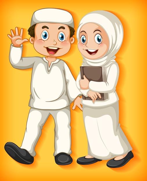 Feliz casal muçulmano em gradiente de cor Vetor grátis