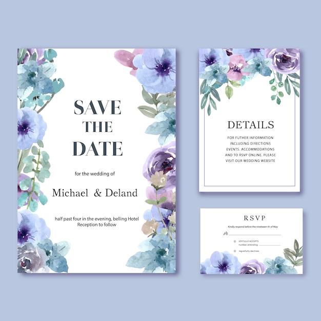 Feliz casamento cartão floral jardim convite cartão casamento Vetor grátis