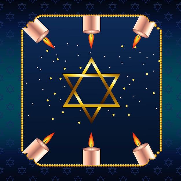 Feliz celebração de hanukkah com estrela dourada e velas em moldura quadrada Vetor Premium