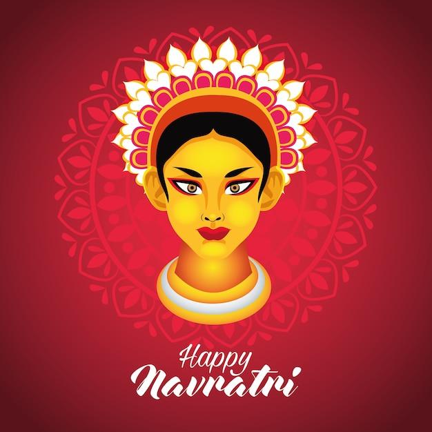 Feliz celebração navratri com design de ilustração vetorial deusa amba Vetor Premium