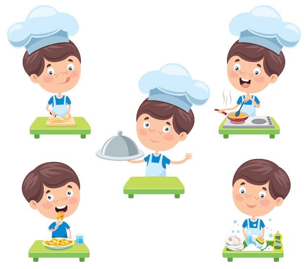 Feliz chef pequeno bonito cozinhar Vetor Premium